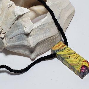 Handpainted Wearable art necklace artisan